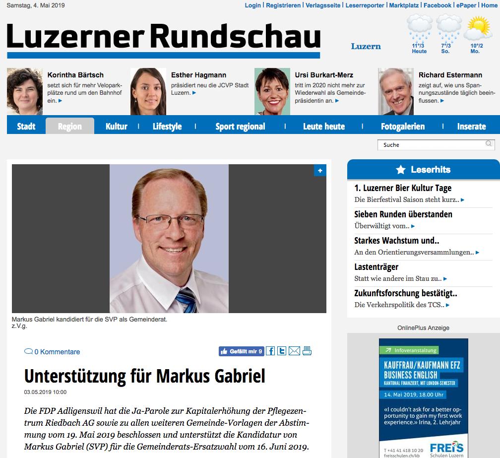 Kandidatur Markus Gabriel Gemeinderat Adligenswil
